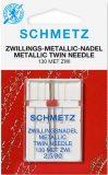 SCHMETZ kodu-õmblusmasina topeltnõel 130 MET ZWI, nõelte vahe 2.5 mm, Nr.80