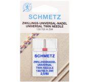 SCHMETZ kodu-õmblusmasina topeltnõelad 130/705 H ZWI, nõelte vahe 2.5 mm, Nr.80